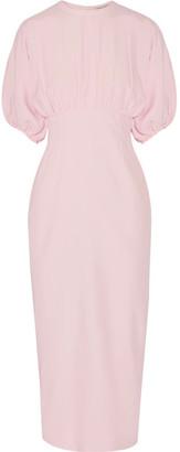 Emilia Wickstead - Ligia Pleated Crepe De Chine Midi Dress - Pastel pink $2,100 thestylecure.com