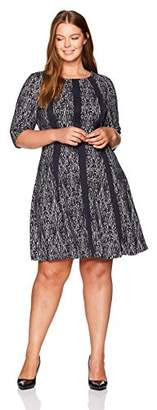 Gabby Skye Women's Plus Size 3/4 Sleeve Round Neck Knit Fit and Flare Dress