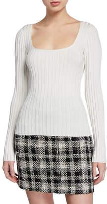 Veronica Beard Clara Square-Neck Ribbed Pullover Sweater