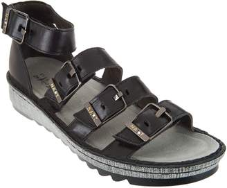 Naot Footwear Leather Sandals with Buckle Details - Begonia