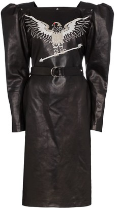 Montana embroidered leather dress