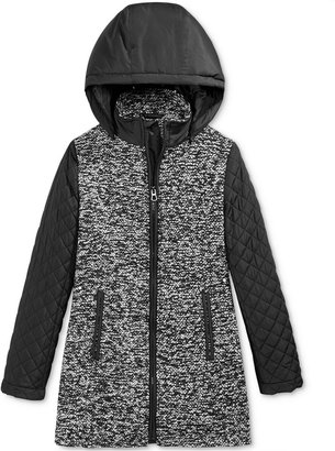 S. Rothschild Girls' Boucle-Knit Quilted Hooded Coat $130 thestylecure.com