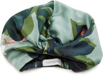 Violet & Wren The Botanist Printed Silk-Satin Headwrap