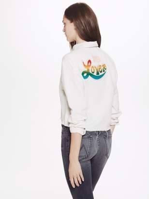 Mother The Long Sleeve Frenchie Crop Fray - Super Lover White
