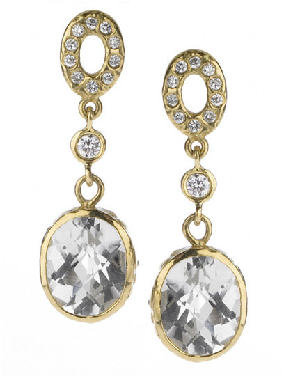 Jolie B. Ray Oval Drop Earrings with Diamonds