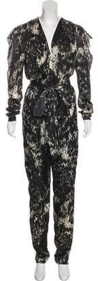 Lanvin Silk Printed Long Sleeve Jumpsuit