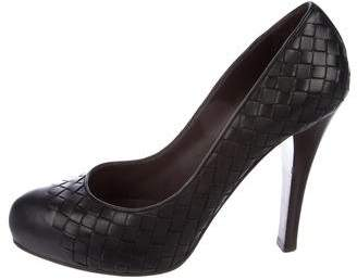 Bottega Veneta Leather Round-Toe Heels