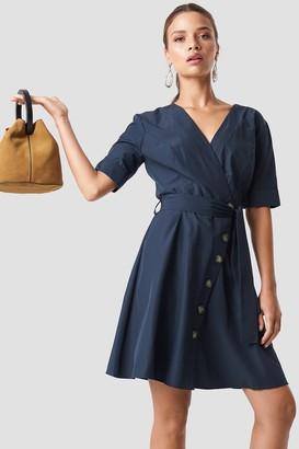 Trendyol Wrap Around Button Detailed Dress Navy
