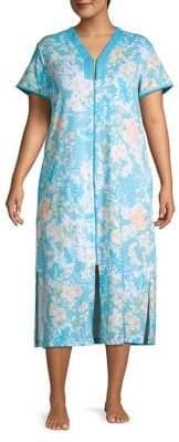 Miss Elaine Plus Floral Zip-Front Nightgown