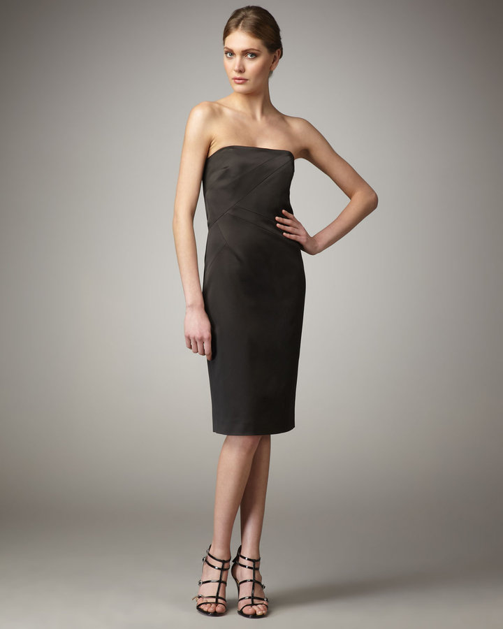 Black Strapless Satin Dress