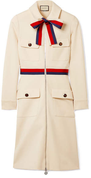 Gucci - Grosgrain-trimmed Jersey Mini Dress - Ivory