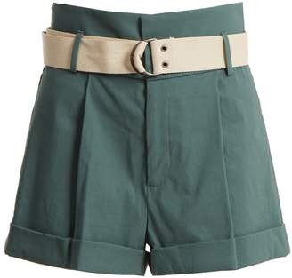 Sea High-rise belted turn-up cuff shorts