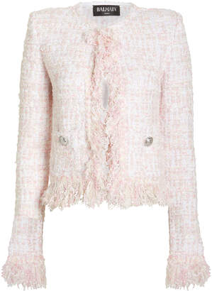 Balmain Cropped Tweed Suiting Jacket