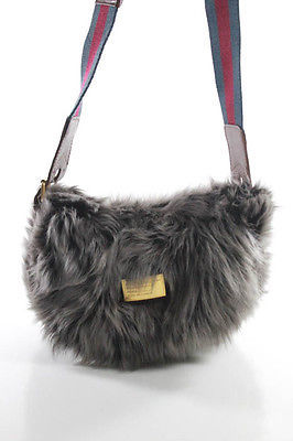 Marc By Marc Jacobs Marc By Marc Jacobs Gray Faux Fur Crossbody Shoulder Handbag Size Small