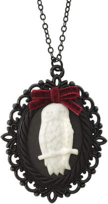 Poporcelain Dark Romance Porcelain Owl Cameo Necklace