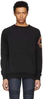Balmain Black Dirty Badge Raglan Sweatshirt