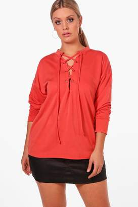 boohoo Plus Eyelet Tie Sweat Top