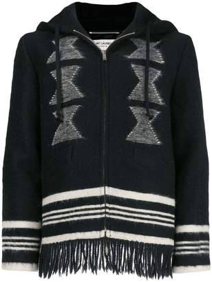 Saint Laurent embroidered fringed hoodie