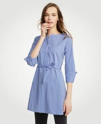 Ann Taylor Petite Stripe Belted Tunic Shirt