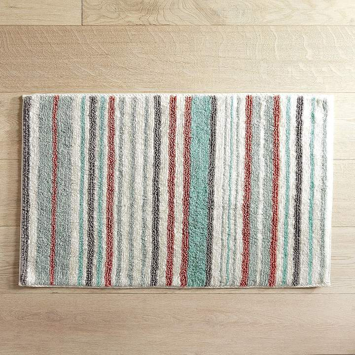 Striped Turquoise 21x34 Bath Rug