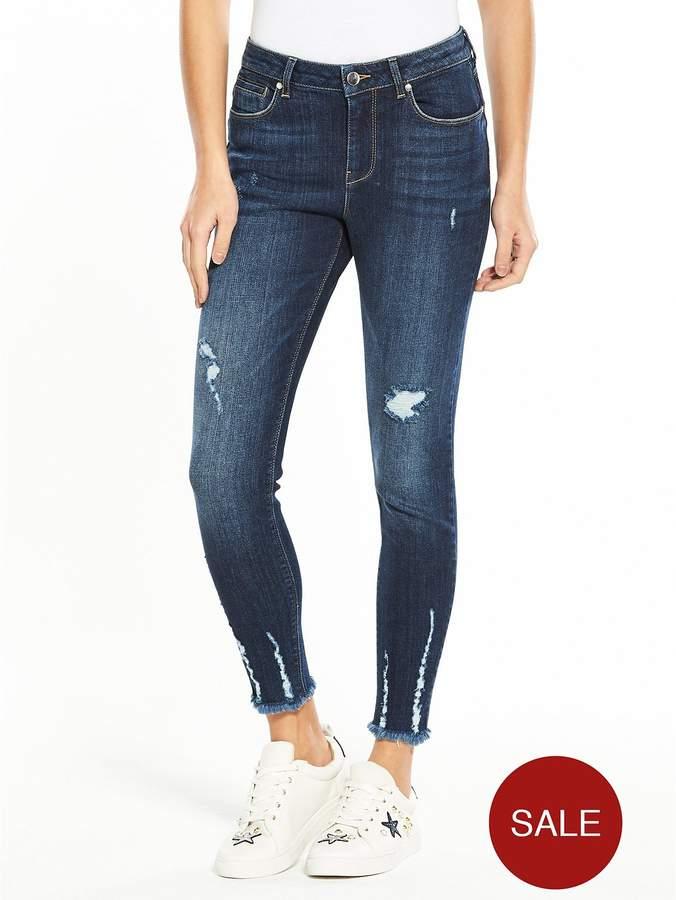 Tallia Mid Rise Clawed Hem Skinny Jean - Dark Wash
