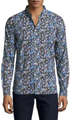 Knowledge Cotton Apparel Men's Floral Print Sportshirt