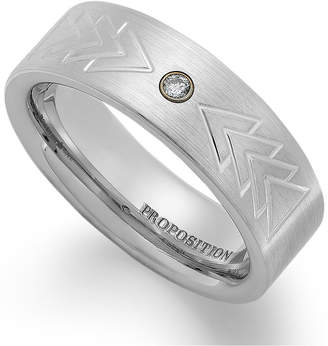 Proposition Love Cobalt Triangle Motif and Diamond Accent Wedding Band