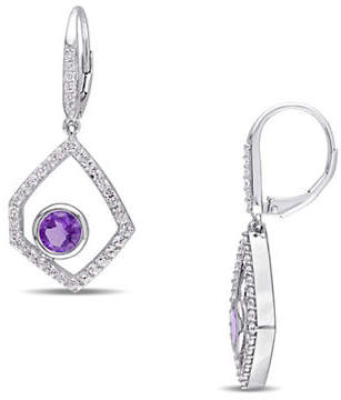 Catherine Malandrino Off-Geometrics Amethyst and Diamonds Drop Earrings