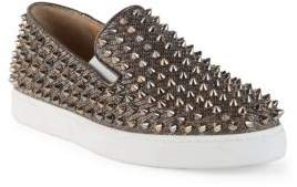 Christian Louboutin Roller Boat Spiked Glitter Chain Skate Sneakers