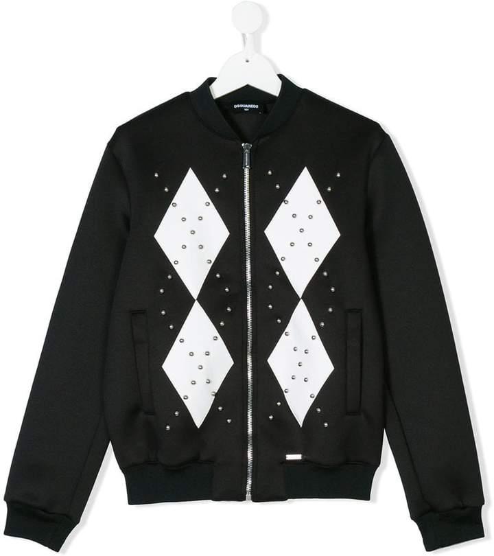 studded diamond print bomber jacket