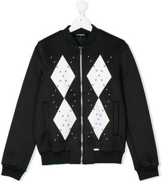 DSQUARED2 studded diamond print bomber jacket