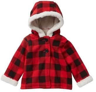 Joe Fresh Faux Fur Plaid Coat (Baby Girls)