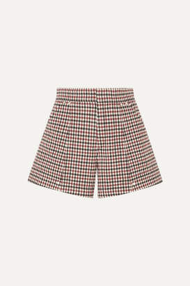 Chloé Checked Wool-blend Shorts - Red