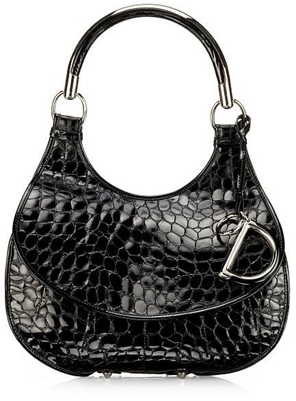 Dior Dior 61 Croc-Stamped Patent Hobo
