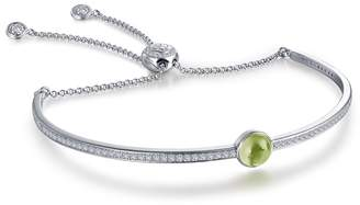 Lafonn Platinum Plated Sterling Silver Bezel Set Peridot August Birthstone Bracelet