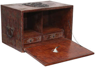One Kings Lane Vintage Spanish Leather Desk - Lock & Key - Faded Rose Antiques LLC