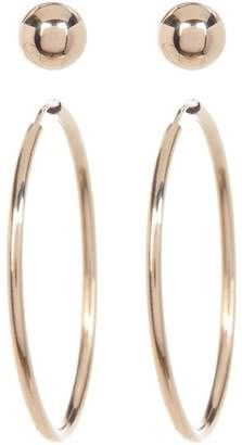 Candela 14K Yellow Gold Ball Stud & Hoop 2-Piece Earrings Set