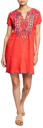 Johnny Was Plus Size Etienne Embroidered Short-Sleeve Easy Linen Tunic Dress