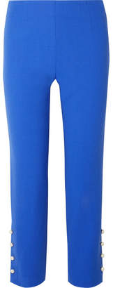 Lela Rose Cropped Faux Pearl-embellished Wool-blend Crepe Straight-leg Pants - Blue