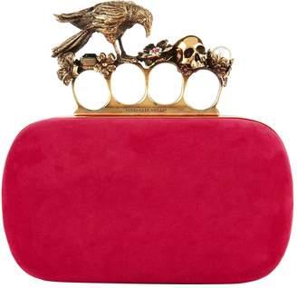 Alexander McQueen Suede Crow Four-Ring Clutch Bag