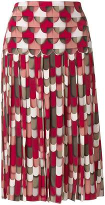Bottega Veneta geometric flared midi skirt