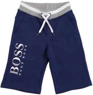 HUGO BOSS Logo Print Cotton Sweat Shorts