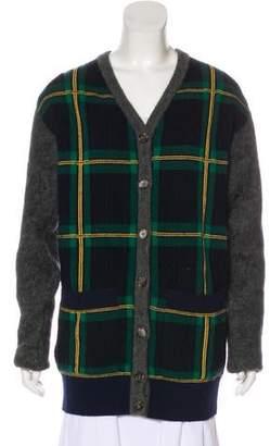 Celine Plaid Wool-Blend Cardigan