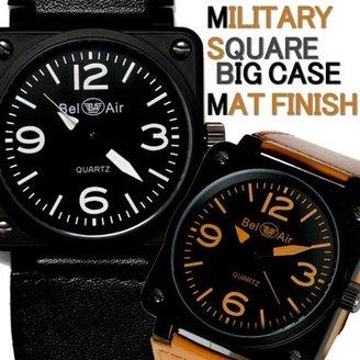 Bel Air [ベルエア 腕時計 オイルコーティングミリタリーデザイン スクエア ミディアムフェイス AC-W-OSD15-S メンズ腕時計 レディース腕時計 (ブラック×キャメル)