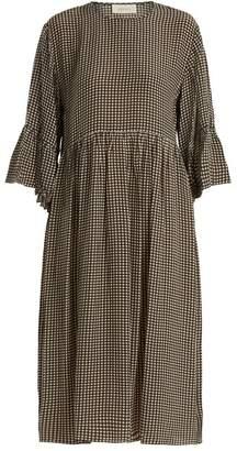 The Great The Sweetie Gingham Silk Dress - Womens - Khaki Cream