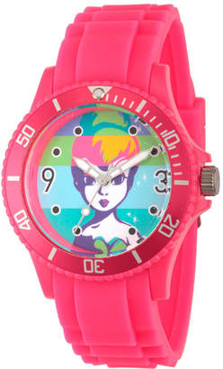 Disney Tinker Bell Womens Pink Strap Watch-Wds000064