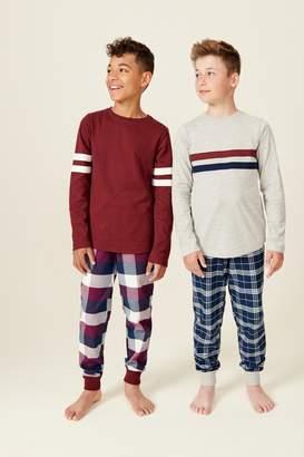 Next Boys Plum 2 Pack Waffle Top Check Woven Pyjamas (3-16yrs) - Purple