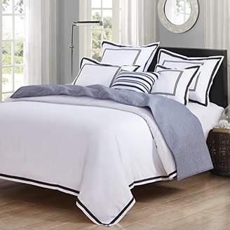 +Hotel by K-bros&Co Hotel Luxury 3pc Duvet Cover Set- Elegant White/Black Trim Hotel Quality Design- Wrinkle & Fade Resistant Bedding - King/Cal King