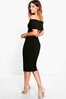 boohoo Oversized Bardot Open Back Midi Dress