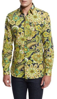 TOM FORD 70s Floral-Print Shirt, Green/Navy $1,160 thestylecure.com